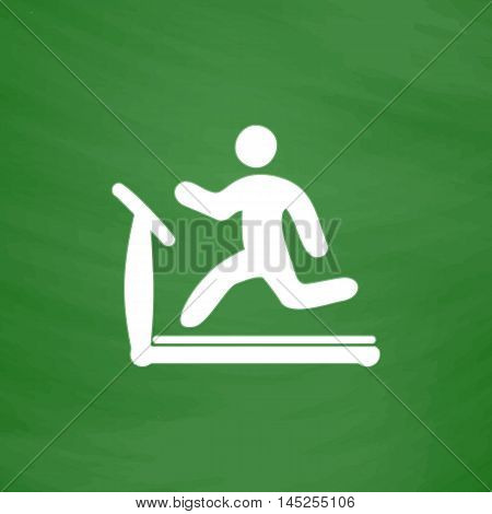 Running, treadmill. Flat Icon. Imitation draw with white chalk on green chalkboard. Flat Pictogram and School board background. Vector illustration symbol