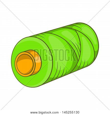 Green bobbin of thread icon in cartoon style isolated on white background