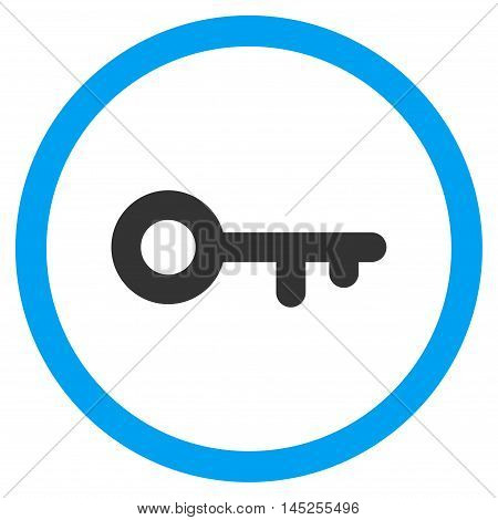 Key vector bicolor rounded icon. Image style is a flat icon symbol inside a circle, blue and gray colors, white background.