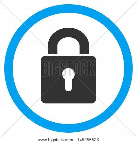 Lock Keyhole vector bicolor rounded icon. Image style is a flat icon symbol inside a circle, blue and gray colors, white background.