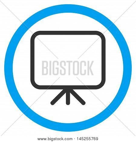 Presentation Screen vector bicolor rounded icon. Image style is a flat icon symbol inside a circle, blue and gray colors, white background.