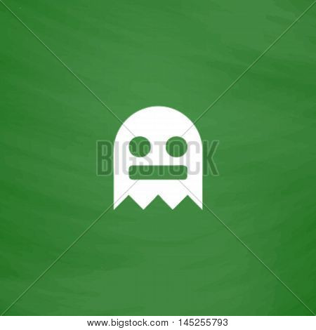 Kawaii cute ghost. Flat Icon. Imitation draw with white chalk on green chalkboard. Flat Pictogram and School board background. Vector illustration symbol
