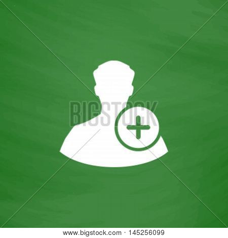 User profile web with plus glyph. Flat Icon. Imitation draw with white chalk on green chalkboard. Flat Pictogram and School board background. Vector illustration symbol