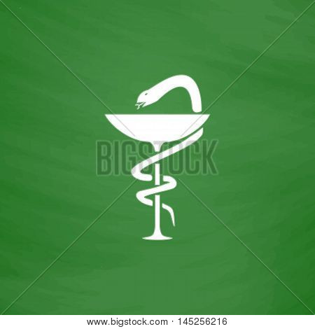 Pharmacy with caduceus, bowl with a snake. Flat Icon. Imitation draw with white chalk on green chalkboard. Flat Pictogram and School board background. Vector illustration symbol