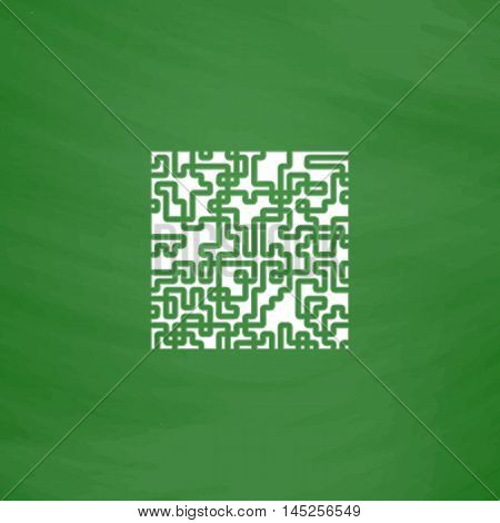 Labyrinth Puzzle rebus. Flat Icon. Imitation draw with white chalk on green chalkboard. Flat Pictogram and School board background. Vector illustration symbol