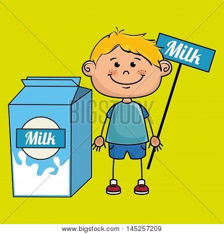 boy milk box drink vector illustration graphic