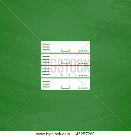 Computer Server. Flat Icon. Imitation draw with white chalk on green chalkboard. Flat Pictogram and School board background. Vector illustration symbol