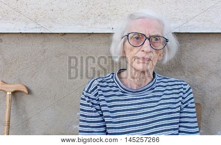 Ninety Years Old Grandma Portrait Outdoors
