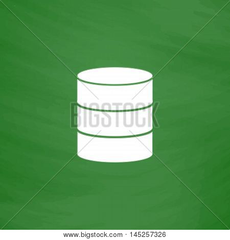 Database. Flat Icon. Imitation draw with white chalk on green chalkboard. Flat Pictogram and School board background. Vector illustration symbol