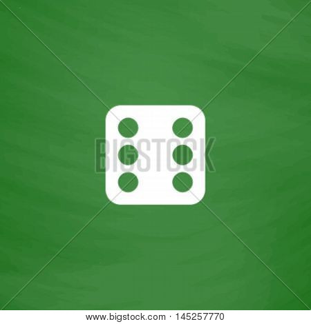 One dices - side with 6. Flat Icon. Imitation draw with white chalk on green chalkboard. Flat Pictogram and School board background. Vector illustration symbol