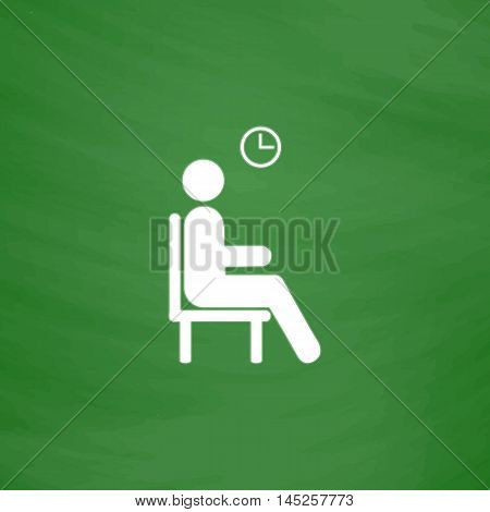 Waiting. Flat Icon. Imitation draw with white chalk on green chalkboard. Flat Pictogram and School board background. Vector illustration symbol