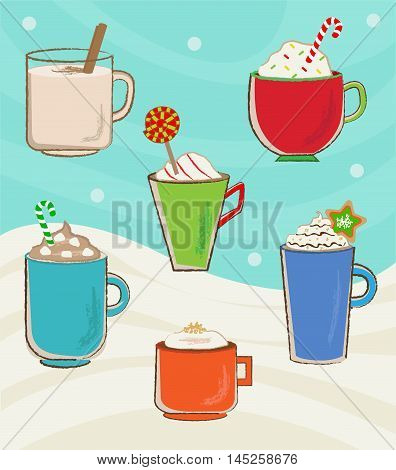 Vector set of six winter holidays mugs with hot drinks. Eps10