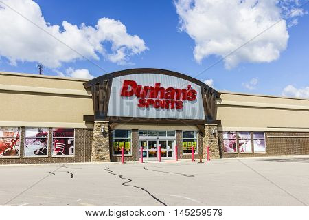 Muncie - Circa September 2016: Dunham's Sports Retail Strip Mall Location. Dunham's Sports is a Sporting Goods Chain Located in the U.S. Midwest III