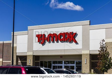 Muncie - Circa September 2016: T.J. Maxx Retail Store Location. T.J Maxx is a discount retail chain featuring stylish brand-name apparel shoes and accessories III