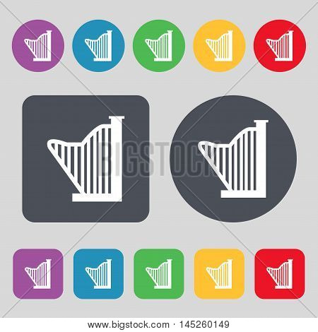 Harp Icon Sign. A Set Of 12 Colored Buttons. Flat Design. Vector