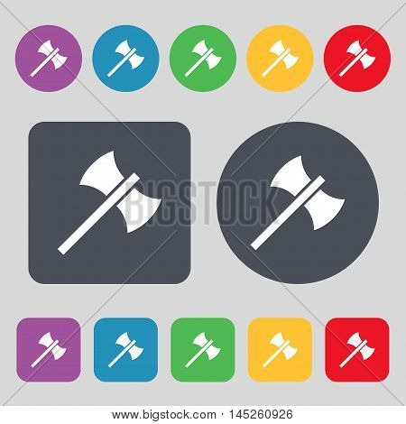 Battle Axe Icon Sign. A Set Of 12 Colored Buttons. Flat Design. Vector