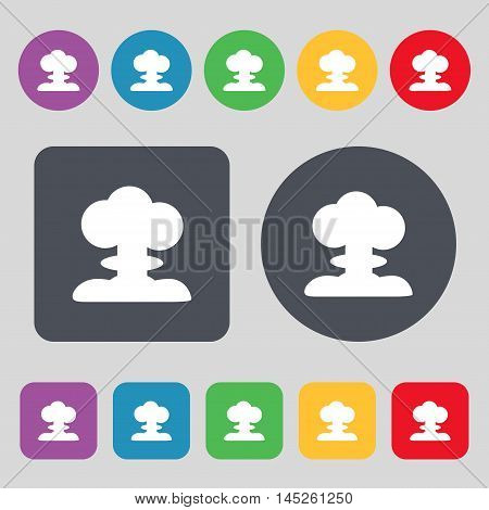 Explosion Icon Sign. A Set Of 12 Colored Buttons. Flat Design. Vector