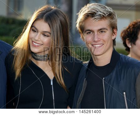 Kaia Gerber and Presley Walker Gerber at the Los Angeles premiere of 'Sister Cities' held at the Paramount Studios in Hollywood, USA on August 31, 2016.