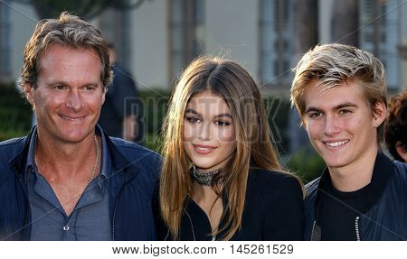 Kaia Gerber, Rande Gerber and Presley Walker Gerber at the Los Angeles premiere of 'Sister Cities' held at the Paramount Studios in Hollywood, USA on August 31, 2016.