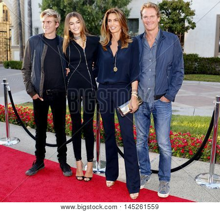 Kaia Gerber, Cindy Crawford, Rande Gerber and Presley Walker Gerber at the Los Angeles premiere of 'Sister Cities' held at the Paramount Studios in Hollywood, USA on August 31, 2016.