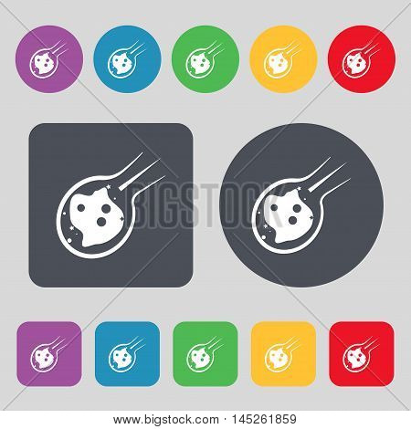 Flame Meteorite Icon Sign. A Set Of 12 Colored Buttons. Flat Design. Vector