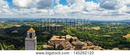 San Gimignano Cityscape Towers Skyline Valley Panorama