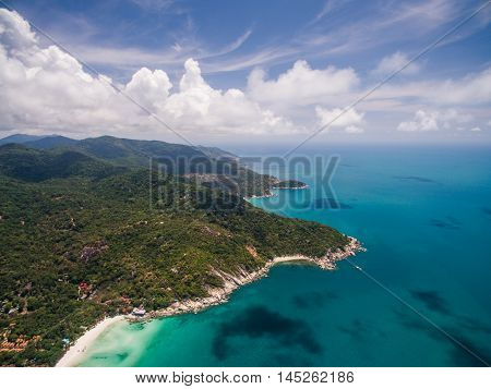 Aerial view of the beach with shallows HaadRin, Koh Phangan, Thailand