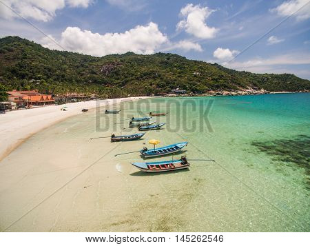 Aerial view of beach boat Koh Phangan Thailand
