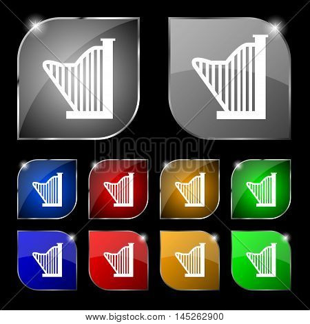 Harp Icon Sign. Set Of Ten Colorful Buttons With Glare. Vector Sign. Set Of Ten Colorful Buttons Wit