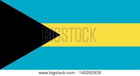 Flag of the Bahamas in correct size proportions and colors. Accurate dimensions. Bahamian national flag. Vector illustration