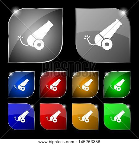 Cannon Icon Sign. Set Of Ten Colorful Buttons With Glare. Vector Sign. Set Of Ten Colorful Buttons W