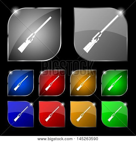 Shotgun Icon Sign. Set Of Ten Colorful Buttons With Glare. Vector Sign. Set Of Ten Colorful Buttons