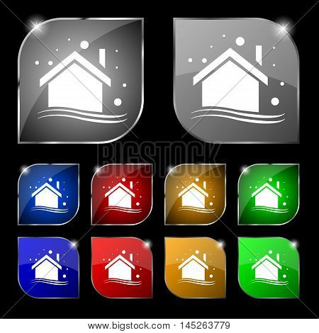 Winter House Icon Sign. Set Of Ten Colorful Buttons With Glare. Vector Sign. Set Of Ten Colorful But
