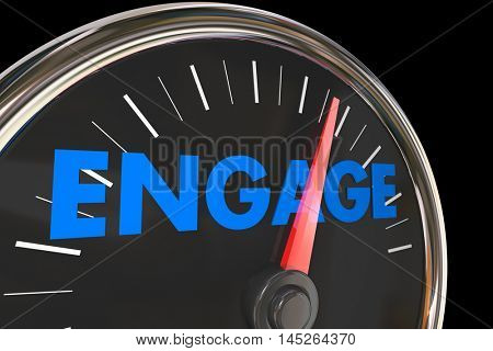 Engagement Speedometer Increase Improve Interaction 3d Illustration