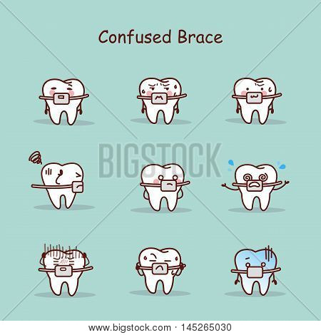 confused cartoon tooth wear brace with various expressions