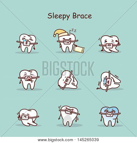 sleepy cartoon tooth wear brace with various expressions
