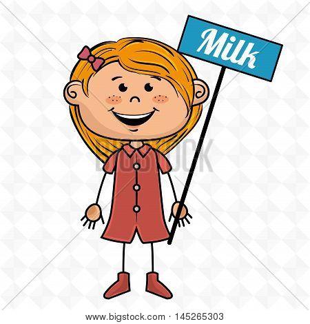 girl milk box drink vector illustration graphic