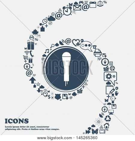 Microphone Icon In The Center. Around The Many Beautiful Symbols Twisted In A Spiral. You Can Use Ea