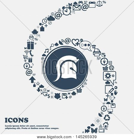 Spartan Helmet Icon In The Center. Around The Many Beautiful Symbols Twisted In A Spiral. You Can Us