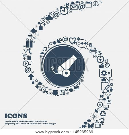 Cannon Icon In The Center. Around The Many Beautiful Symbols Twisted In A Spiral. You Can Use Each S