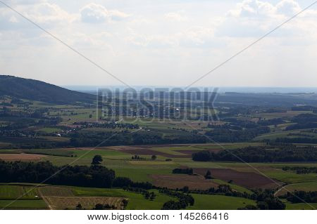 Landscape in Wisent Valley in Franconia in Bavaria Germany.