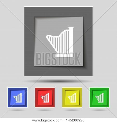 Harp Icon Sign On Original Five Colored Buttons. Vector