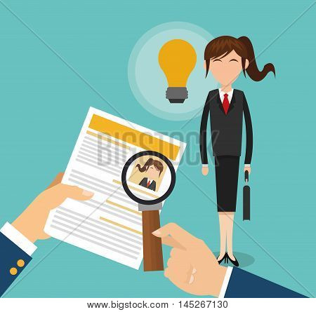 human resources document lupe woman bulb search employee business icon. Colorful design blue background. Vector illustration