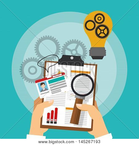 human resources document lupe gears bulb search employee business icon. Colorful design blue background. Vector illustration