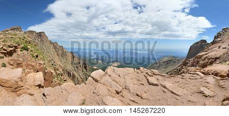 Panoramic view from Pikes Peak in Colorado - Stitched from 6 images