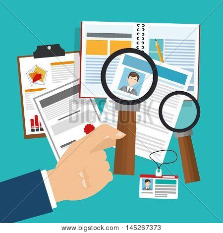 human resources document lupe man search employee business icon. Colorful design blue background. Vector illustration