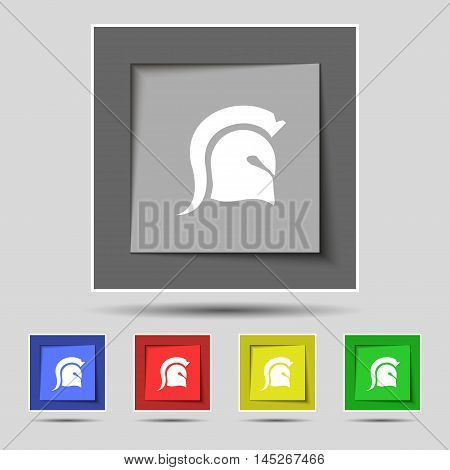 Spartan Helmet Icon Sign On Original Five Colored Buttons. Vector