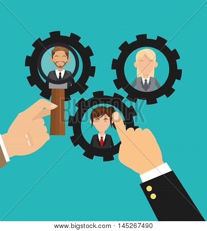human resources gears hand lupe man woman avatar search employee business icon. Colorful design blue background. Vector illustration
