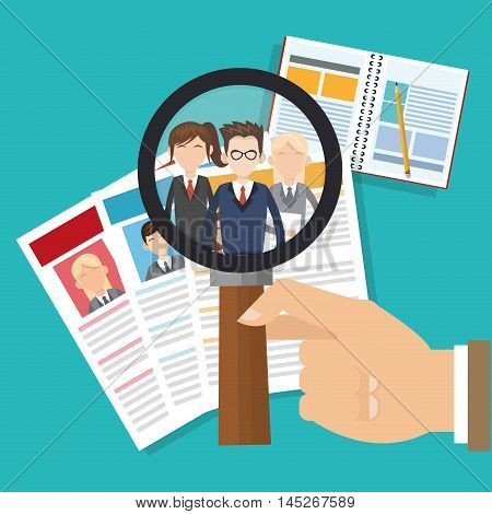 human resources document lupe man woman avatar search employee business icon. Colorful design blue background. Vector illustration