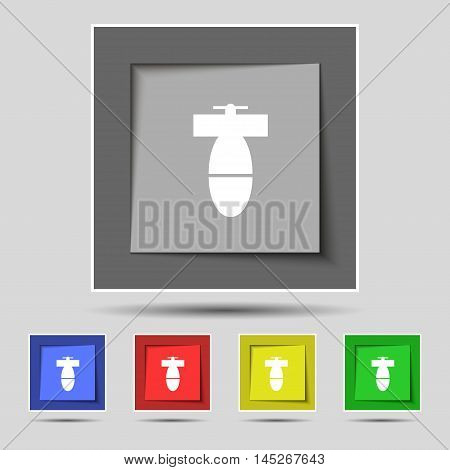 Mortar Mine Icon Sign On Original Five Colored Buttons. Vector